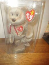 BEANIE BABY 1999 SIGNATURE BEAR RETIRED WITH TAG , IN ACRYLIC BOX