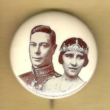 Vintage Pinback Pin Button British Royalty 1930's King George VI & Elizabeth