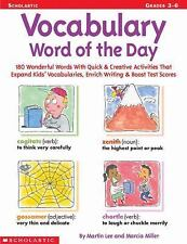 Vocabulary Word of the Day: 180 Wonderful Words With Quick & Creative Activities
