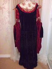 Señoras tamaño L/XL Negro y Rojo GOTHIC Medieval Vestido Largo De Terciopelo