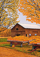Pumpkinville Western NY Garden Flag Fall Autumn Barn Farm Pumpkin