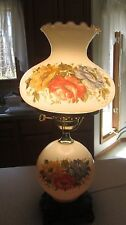 VTG Victorian GWTW Accurate Cast Hurricane Hand Painted Roses Table 3-way Lamp