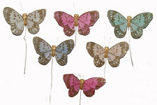 "24 3"" Feather Butterfly Artificial Pastel Floral Feather Fake Butterflies BF743"