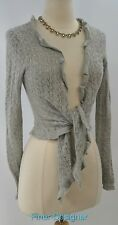 EXPRESS angora wool Hippie open loose Knit Cardigan Sweater fly away drape S New