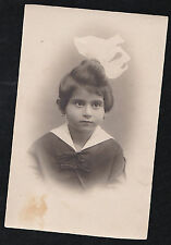 Old Antique Vintage RPPC Photograph Postcard Little Girl With Huge Bow in Hair