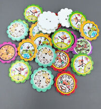 25X  Wooden Animal prints Clocks flower Buttons Sewing Scrapbooking crafts 25mm