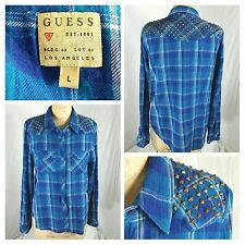 Guess snap button plaid flannel shirt studded shoulders womens large (B)