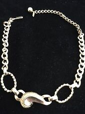 "Jewelry Signed TARA Vintage 14"" Necklace Choker Gold Tone Chain Leaf"