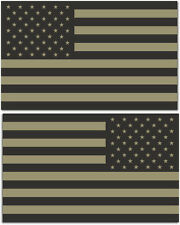 "(2x) 4"" Subdued American Flag Sticker Die Cut Decal USA LH RH mirrored reverse"