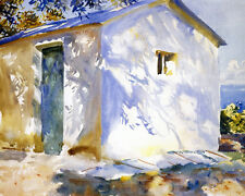 Greece Beach House At Carfu White Blue Painting 8x10 Real Canvas Fine Art Print