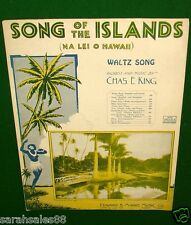 SONG of the ISLANDS, Na Lei O Hawaii 1930 Sheet Music Uk Chords, French English