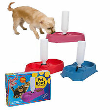 Twin Pet Food Bowl for Cats and Dogs with Water Refill System Asorted colours