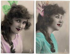 Two Tinted Real Photo Postcards Close Up of Cute Young Woman's Face~105765