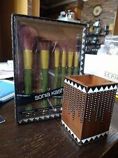 SONIA KASHUK Earth - 6 Brush Set + EXOTIC ARTISAN Vanity Brush Cup Lim Ed BNIB