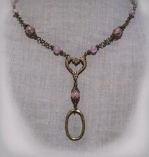 FILIGREE HEART PINK ROSE QUARTZ LANYARD NECKLACE EYEGLASS BADGE VICTORIAN LOVE
