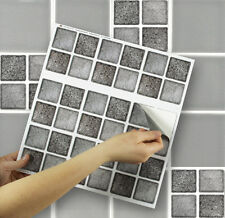 "9 Tile Transfer Stickers 4""x 4"" GRAPHITE MOSAIC for Kitchen & Bathroom tiles"