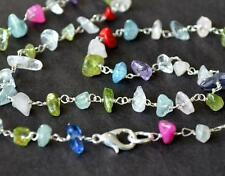 "17 1/2"" LENGTH - SILVER PLATED NECKLACE - NATURAL MULTI DISCO 4x6 - 5x8MM #C6360"