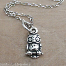 Tiny Owl Necklace - 925 Sterling Silver - Owl Charm Jewelry Hoot Bird *NEW
