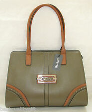 NEW-GUESS MADERA TAUPE+BROWN TRIM+SILVER TONE HARDWARE SHOULDER HAND BAG,PURSE