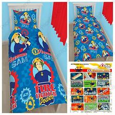 FIREMAN SAM WORKSHOP SINGLE DUVET COVER SET + FREE SMALL REWARD STICKERS KIDS