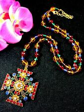 GORGEOUS JOAN RIVERS MULITCOLORED BEAD NECKLACE RHINESTONE MALTESE CROSS PENDANT