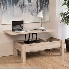 Rustic Modern Natural Light Brown Wood Lift Top Storage Coffee Table