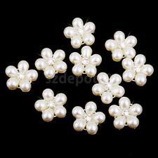 10x Beige Pearl Rhinestone Flower Buttons Wedding Embellishments DIY Crafts