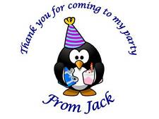 35 Personalised Birthday Stickers Penguin Party Thanks for coming to my party