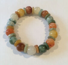 Genuine Jade and Agate Ball Stretch Bracelet to fit adult handmade
