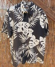 Mens L Centro Floral Hawaiian SS Shirt Ramie/rayon Palm fronds in cream on black