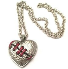 New Silver Red Stitch Heart Necklace Broken Eternal Love Pendant Gothic