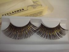 Black and Gold Foil Super Long False Eyelashes (J-134)