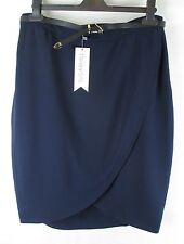 Sugarhill Alice Textured Tulip Skirt With Belt New With Tags - Navy - UK Size 16