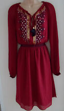 ALTUZARRA for Target Ruby Embroidered Pleated Georgette Dress UK 6 8 EU 34 US 2