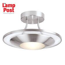Saxby Endon 387-30SC Firenz 1 Light Semi Flush Ceiling Light Satin Chrome Glass