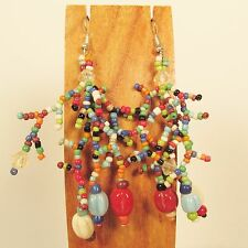 "2 1/2"" Multicolor Bohemian Mix Bead Style Handmade Dangle Seed Bead Earring"