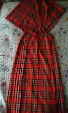 clan lairo made in Scotland Red tartan/plaid maxi kilt skirt and shaw 12/14