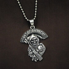 Grim Reaper Stainless Steel Biker Chain Necklace Sons of Anarchy Skull Pendant