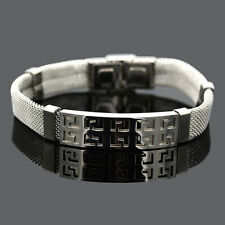 Silver Men Jewelry 316L Stainless Steel Fashion Wristband Chain Bracelet 20cm