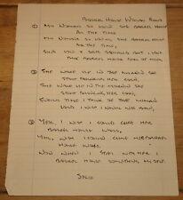 KNOX THE VIBRATARS ~ BARREL HOUSE WOMAN ~ AUTHENTIC HANDWRITTEN PUNK LYRICS 1977