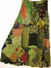 911SK~TIENDA HO~Olive~A-Line Skirt~Hippy Rayon~Mixed Patchwork~FUN~OS~m-1x?