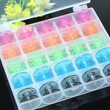 25 Plastic Single Bobbin Sewing Machine Spools With Thread Storage Box  UK16