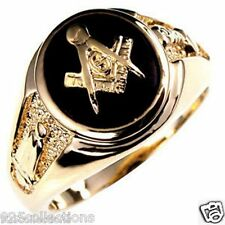 Free Mason Masonic Semi-Precious Black Onyx Stone Gold Plated Men's Ring Size 9