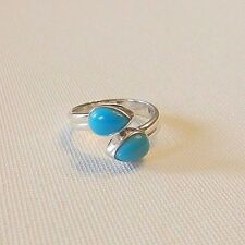 Blue Turquoise Bezel Set Pear Bypass Ring Sz 9 Sterling Silver 925 Sturdy Band