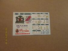 AHL Manitoba Moose Circa 2001-2002 Magnet Schedule