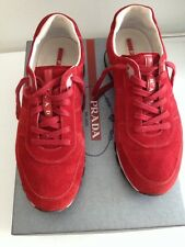 MENS PRADA FIRE SUEDE LACE UP SNEAKERS Prada SIZE 7.5M. US size 9.5