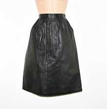 "Black Leather JHA-JHA Pockets Pencil Straight Knee Length Skirt Size W24"" L24"""