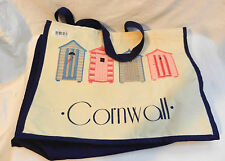 Large Canvas Shopping Bag / Tote Bag - Cornwall Beach Hut Design - Blue