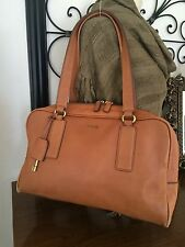 FOSSIL MEMOIR Satchel Tote Distressed Camel Leather Handbag