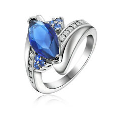 Nobby Size 9 Fashion Jewelry Blue Sapphrie Women 18K Gold Filled Wedding Rings